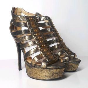 Paper Fox Gold Stud Taletha Metallic Heels 10